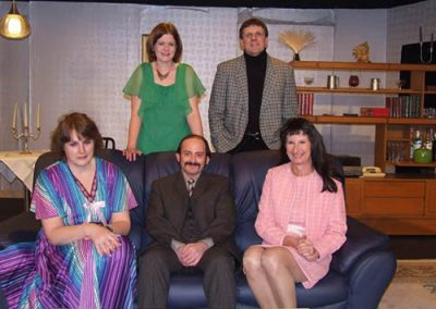 The cast of Abigail's Party on set at the Broadbent Theatre in Wickenby before dress rehearsal