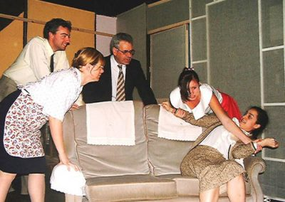 Billy (Jason Hippisley), Alice (Vicky Ashberry), Geoffrey (Maurice Raphael), Rita (Elly Tipping) and Barbara (Francesca Gugliotta) in the fight scene