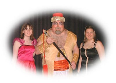 Jenny Davidson, Clair Dewison and Ian Smith as the Strongman of the Bosphorus Baths