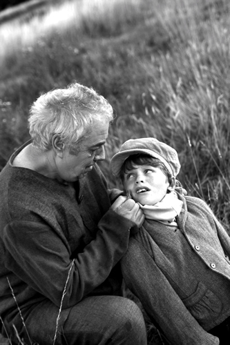 Magwitch (John Beverley) meets Young Pip (Alfie Lewis) on the marshes