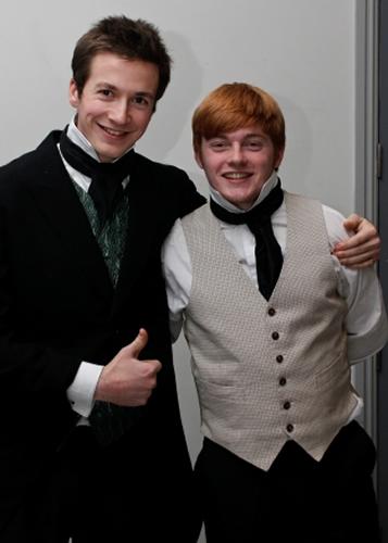 Bentley Drummle (Dom McAndrew) with Herbert (Adrian Snow)
