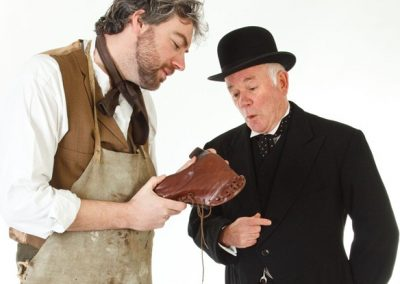 Will Mossop (Jason Hippisley) discusses bootmaking with Henry Hobson (John Leighton)