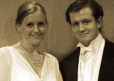 Brother and sister Sheila and Eric Birling (Nicola Stocks and Luke Niemiec) don't always get on