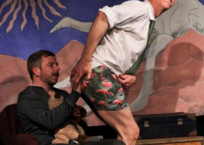 The stitching is really above par - Thomas (Jez Ashberry) shows off his pants to Cooper (Philip Little)