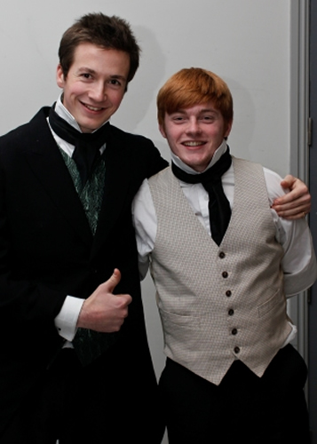 Bentley Drummle (Dom McAndrew) with Herbert (Adrian Snow)