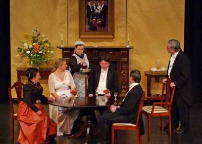 All is well at the beginning of the play as the Birling family celebrate an engagement